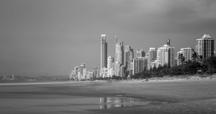Long exposure shot of Surfers Paradise taken from the Spit.