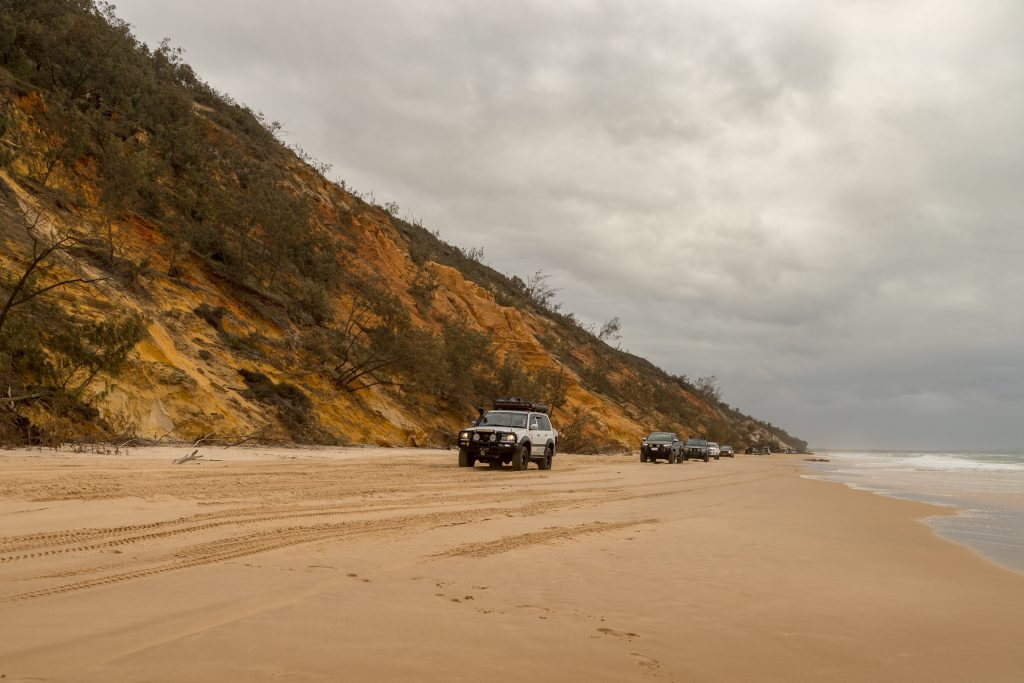 Rainbow Beach, popular with the drivers.